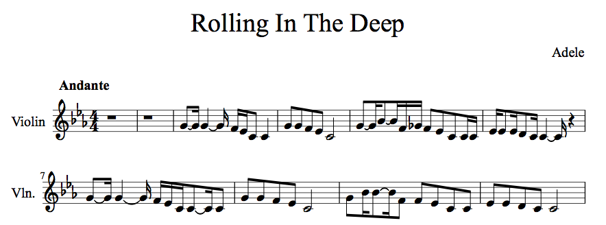 Rolling In The Deep Violin Cover and Violin Sheet Music